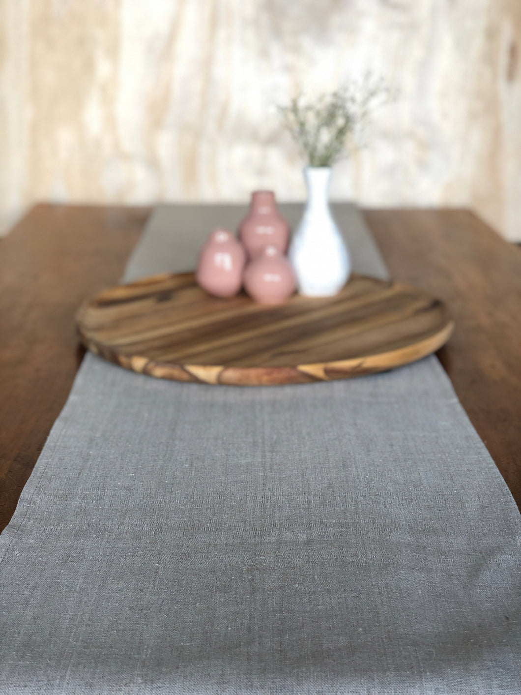 Table Runner Pure Linen Flax colour