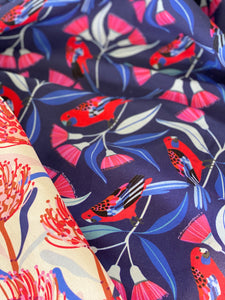 Crimson Rosella and Waratah Set of 2 Tea Towels Linen Blend