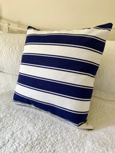 Navy White Stripe Cotton Canvas