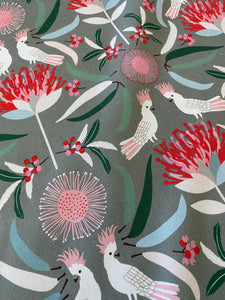 Cockatoo & Waratah On Gum Linen Blend Tea Towel