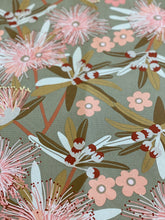 Flowering Eucalypt Taupe Tea Towel
