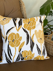Mustard & Black Floral on White Cushion Cover
