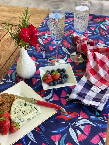 Navy Gingham Napkins Large - sold in pairs