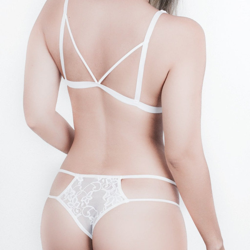 SET GLASSY BLANCO. BRALETTE + PANTY