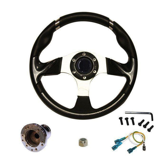 14 Inch EZGO TXT Steering Wheel | Carbon Fiber w/ Chrome Adapter