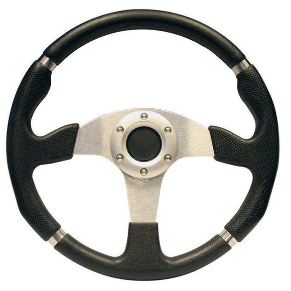 13 Inch Yamaha Drive Steering Wheel - Black & Chrome-Drive with chrome adapter