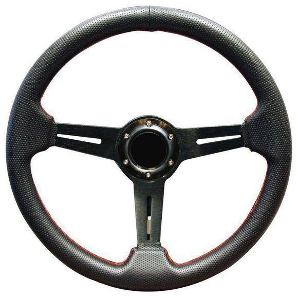 14 Inch Inch EZGO Steering Wheel | Black with Red Stitch-RXV w/ chrome adapter