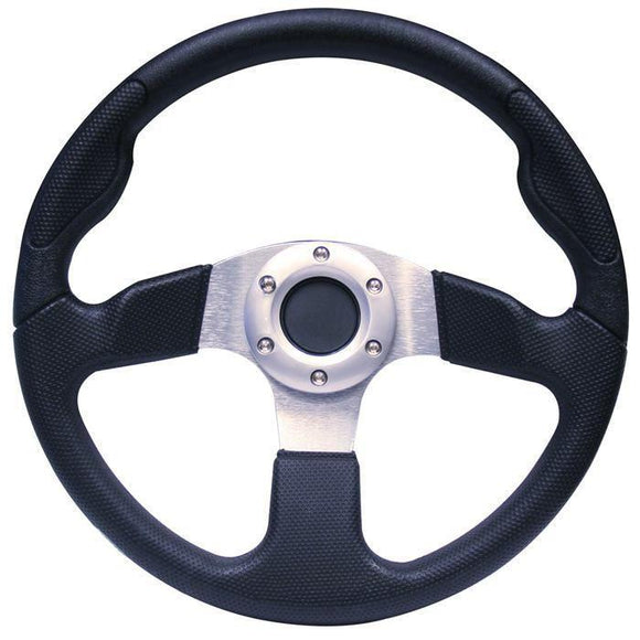 13 Inch Yamaha Drive Steering Wheel - Black-Drive with chrome adapter