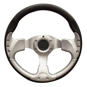 Club Car 13 Inch Steering Wheel in Black & Silver-Precedent with black adapter