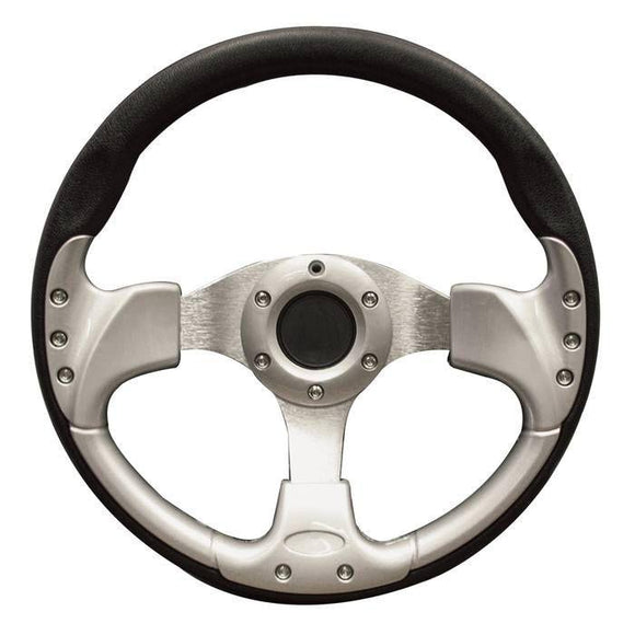 13 Inch Inch EZGO Steering Wheel | Black & Silver-TXT w/ black adapter