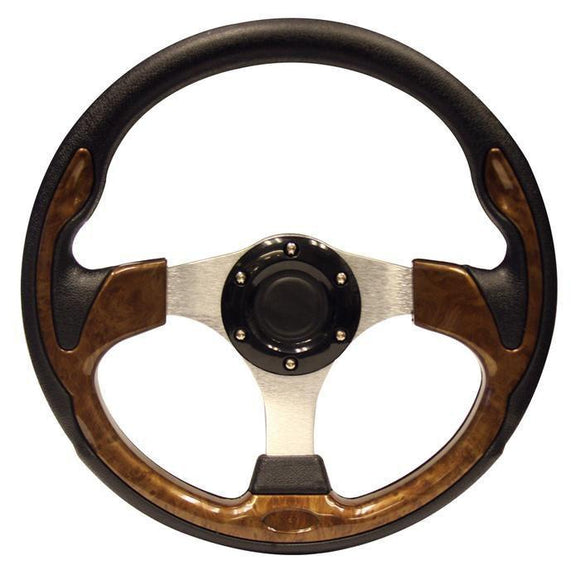 13 Inch Inch EZGO Steering Wheel | Wood Grain-TXT w/ chrome adapter