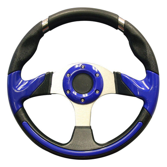 Club Car Precedent 13 Inch Steering Wheel | Black & Blue with Chrome Adapter