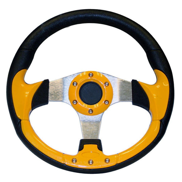 13 Inch Inch EZGO Steering Wheel | Yellow-TXT w/ chrome adapter