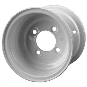 8 Inch 4 Lug White Wheel Assembly with Beadlock Design
