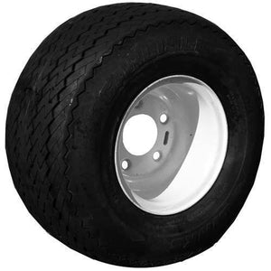 18x8.50-8 4 Ply Sawtooth Link with 5-Bolt White Steel Wheel Assembly