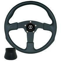 Black on Black Formula GT 3- Spoke Steering Wheel w/ E-Z-GO Adaptor
