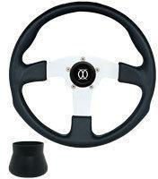 Black on Silver Formula GT 3- Spoke Steering Wheel w/ E-Z-GO Adaptor