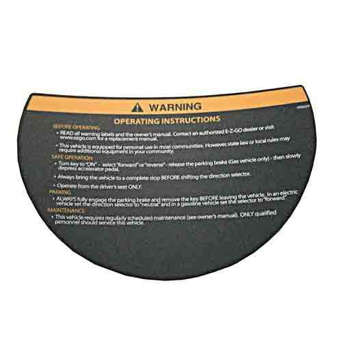 Warning Decal for Steering Wheel