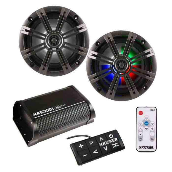 Kicker Bluetooth Amplifier & 6 Inch LED Speakers & Remote