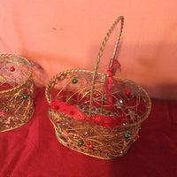 Two Decorated Metal Baskets