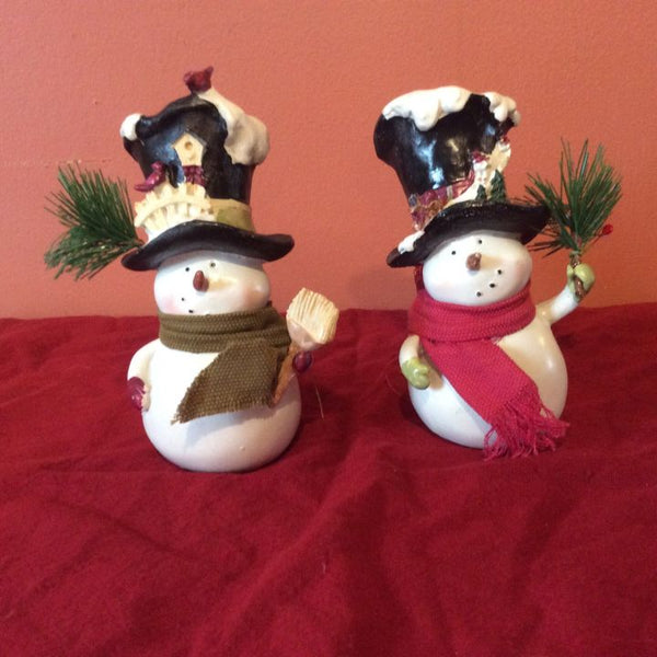 Set of 2 Snowman Figurines ~ Top Hats ~ Scarf ~ Sprig Holding