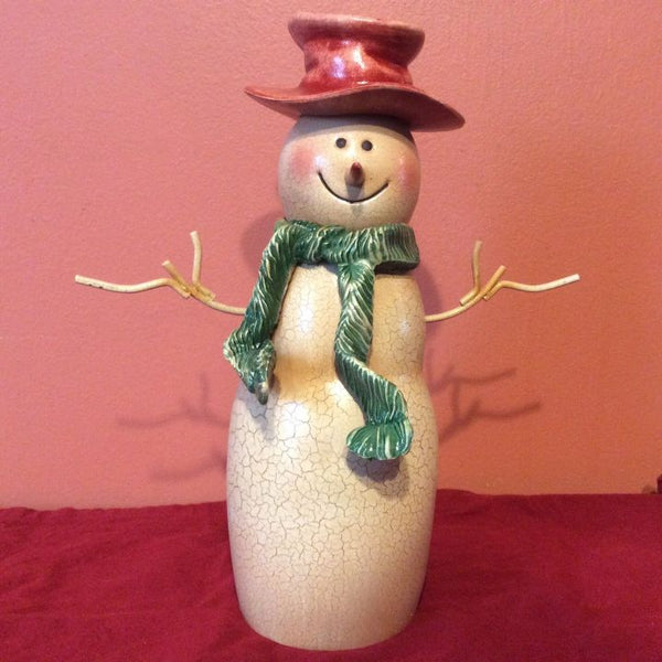 Snowman Figurine Statue ~ Brown Hat ~ Green Scarf ~ Bowling Pin Shaped