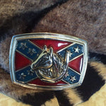"Belt Buckle ~ Horse ~ Horseshoe ~ Flag ~ Stars ~ Fits 1.5"" Belt"