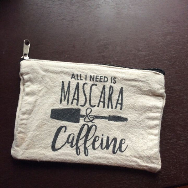 Mascara & Caffeine Zipper Pouch Bag
