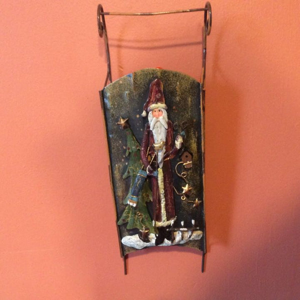 Metal Santa Sleigh - Wall Decor