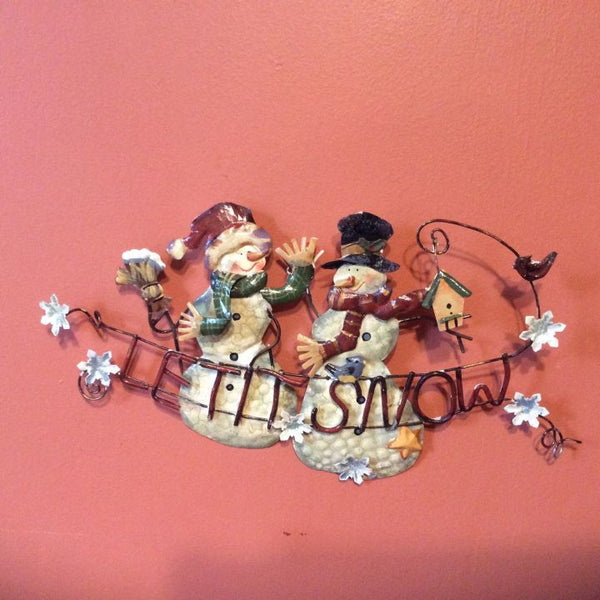 Metal Snowman Wall Hanging Sign ~ Let It Snow