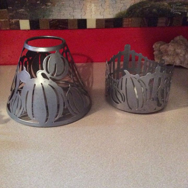 Pumpkin Candle Holders ~Pillar / Container Stand ~ Set Of 2