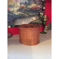 Round Wooden Butterfly Basket with Lid