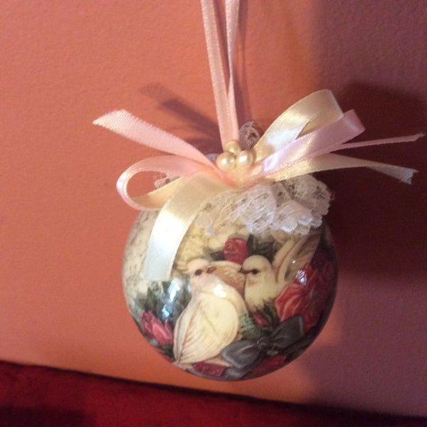 Set of 6 Dove Ornaments ~ Lace & Ribbon