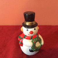Small Snowman Ceramic Figurine ~ Top Hat ~ Wreath ~ Scarf