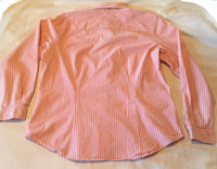 #089 Sz L Striped Button Up Blouse - VanHeusen