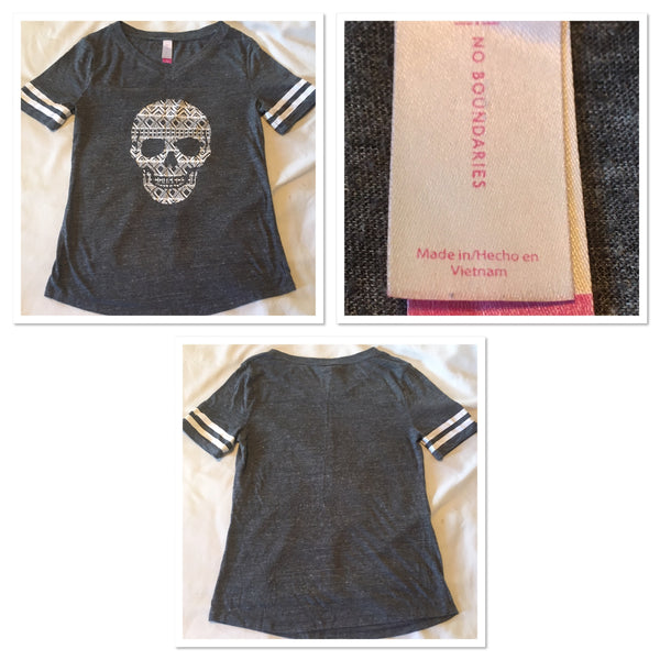 #090 Sz M(7-9) Skull Shirt - No Boundaries
