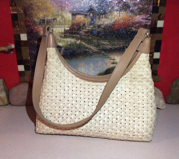 Purse / Handbag ~ 2 Tone Tan Cream ~ Weave Style