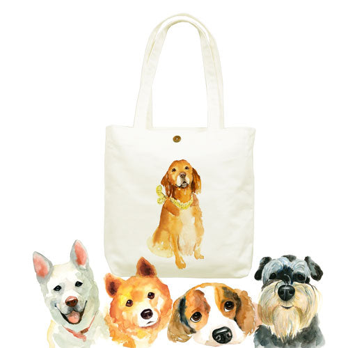Cute dog canvas tote bag