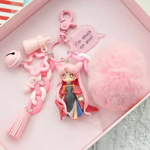 Sailor Moon Handmade Dark Lady Fluffy Keychain