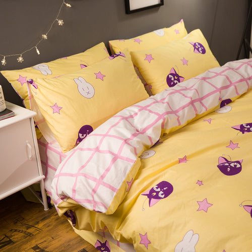 Sailor Moon Duvet Cover, Pillowcases and Sheet - Usagi & Luna-P Pattern