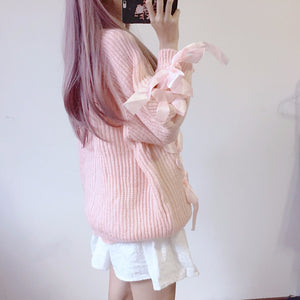 Lace Up Ribbons Kawaii Long Sweater for Lady