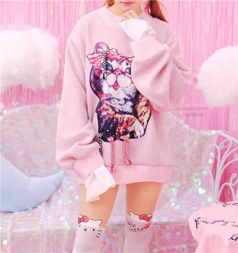 Free Shipping - Harajuku Style Kawaii Cat Oversized Sweatshirt