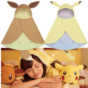Pokemon Pikachu Eevee Flannel Cloak Hoodie / Cosplay Costume