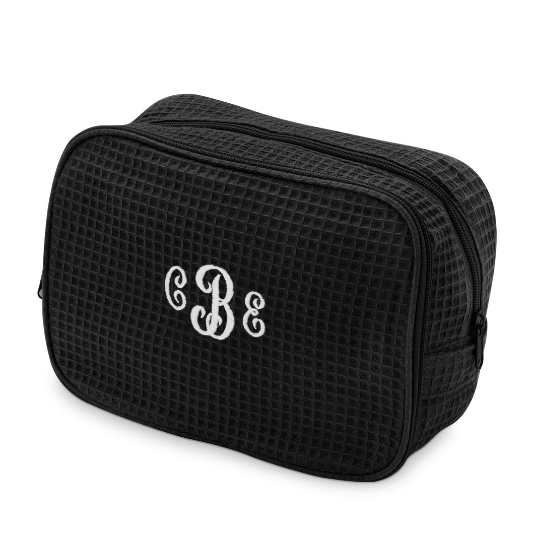 Waffle Weave Cosmetic Bag - The Monogram Shoppe