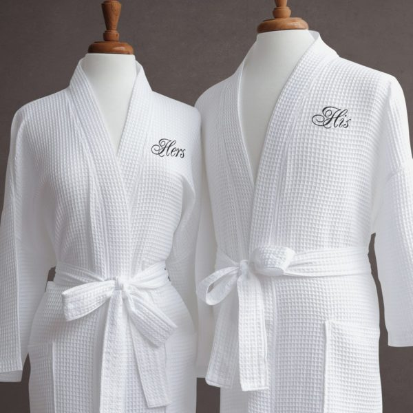 Waffle Weave White Spa Robe - Long - The Monogram Shoppe
