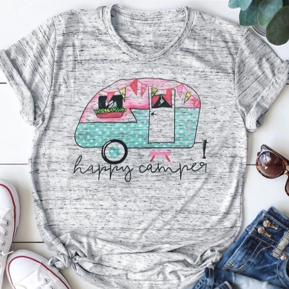 Happy Camper Heather Grey Women's T-Shirt