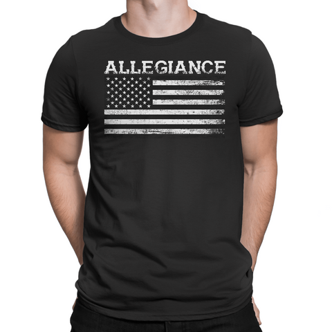 Short sleeve Men's Allegiance Flag soft tri-blend American Apparel t-shirt. Made In The USA.