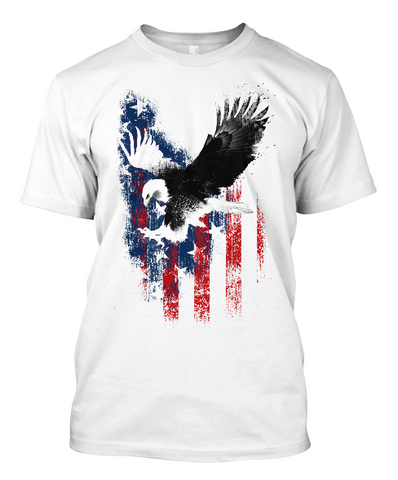 Men's Soaring Eagle T-Shirt in White or Heather Grey.