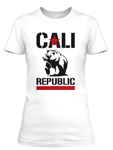 Women's short sleeve Cali Republic Red and Black print t-shirt