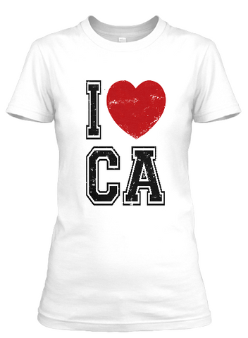Women's short sleeve I Love CA t-shirt